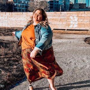 Vintage Plus Size Midi Skirt